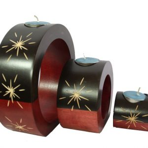 Thailand handicrafts Wholesale Mango Wood Round Candle Holder Set with star design
