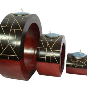 Mango Wood Round Candle Holder Set with stripes pattern