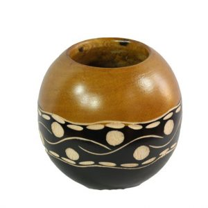 Mango Wood Round Candle Holder with spots pattern