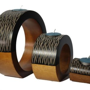 Thailand handicrafts Wholesale Mango Wood Round Candle Holder Set with stripes design