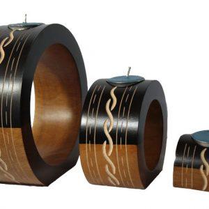 Mango Wood Round Candle Holder Set with stripes pattern