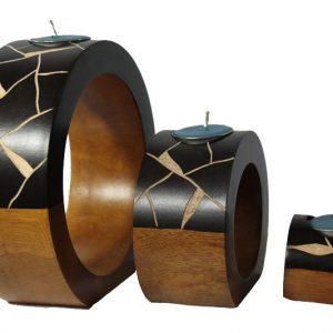 Thailand handicrafts Wholesale Mango Wood Round Candle Holder Set with stripes pattern