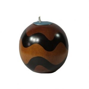 Mango Wood Round Candle Holder with stripes pattern