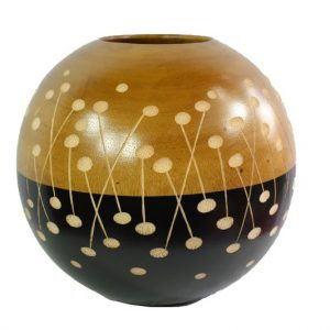 Thailand Handicrafts Wholesale Mango Wood Round Candle Holder with spots pattern