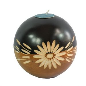 Thailand handicrafts Wholesale Mango Wood Round Candle Holder with floral design