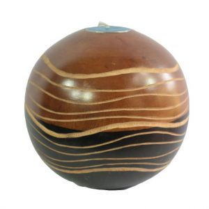 Mango Wood Round Candle Holder with stripes design