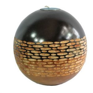 Mango Wood Round Candle Holder with spots design