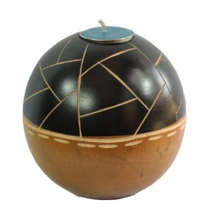 Chiang Mai Handicrafts Wholesale Mango Wood Round Candle Holder with stripes design