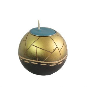 Thailand handicrafts Wholesale Mango Wood Round Candle Holder in black brown color with gold stripes