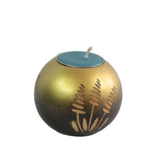 Thailand handicrafts Wholesale Mango Wood Round Candle Holder in black brown color with gold leaf