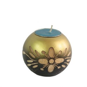 Mango Wood Round Candle Holder with floral design
