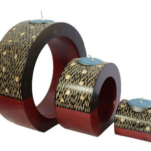 Mango Wood Round Candle Holder Set with spots and stripes design
