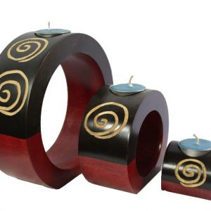 Mango Wood Round Candle Holder Set with maze design