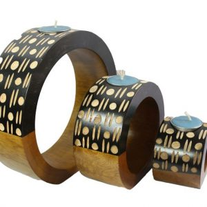Thailand handicrafts Wholesale Mango Wood Round Candle Holder Set with spots and stripes design
