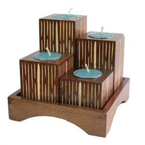 Mango Wood Squares Candle Holder Set with stripes design
