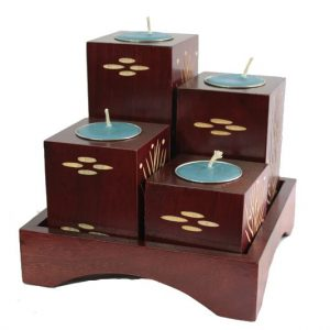 Mango Wood Squares Candle Holder Set with spots design