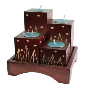 Mango Wood Squares Candle Holder Set with leaf design