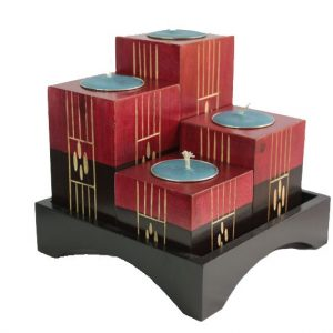 Thailand Handicrafts Wholesale Mango Wood Squares Candle Holder Set with stripes design