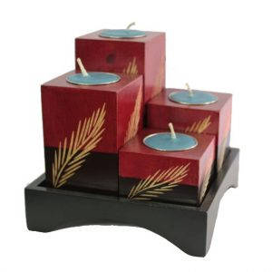 Mango Wood Squares Candle Holder Set with leaf pattern