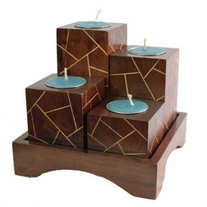 Mango Wood Squares Candle Holder Set with stripes pattern