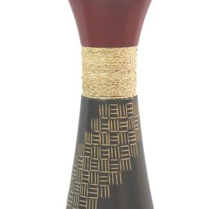 Mango Wood Medium Vase with stripes design