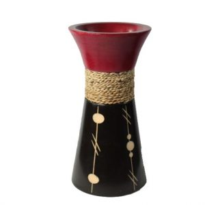 Mango Wood Large Vase in black and red color with white spot