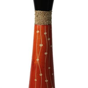 Large Mango Wood Vase with spots design