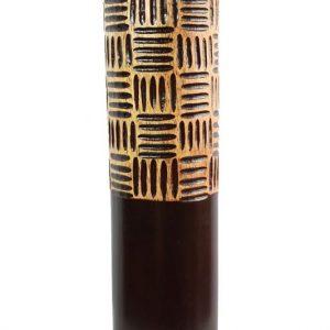 Large Mango Wood Vase with Stripes design