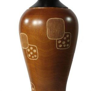 Thailand handicrafts Wholesale Large Mango Wood Vase with spots design