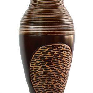 Thailand handicrafts Wholesale Large Mango Wood Vase with stripes design