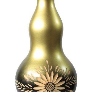 Large Mango Wood Vase with flower design