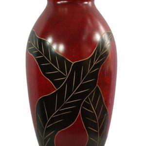 Mango Wood Vase with leaf pattern
