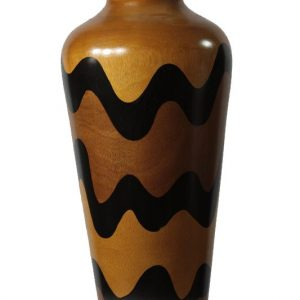 Chiang Mai handicrafts Wholesale Large Mango Wood Vase with stripes pattern