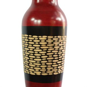 Chiang Mai handicrafts Wholesale Large Mango Wood Vase with spots pattern