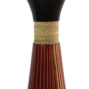 Mango Wood Medium Vase in black and red color with white stripes pattern