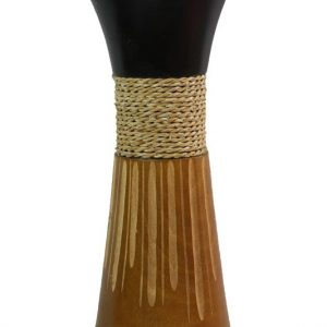 Mango Wood Medium Vase in black and brown color with stripes pattern