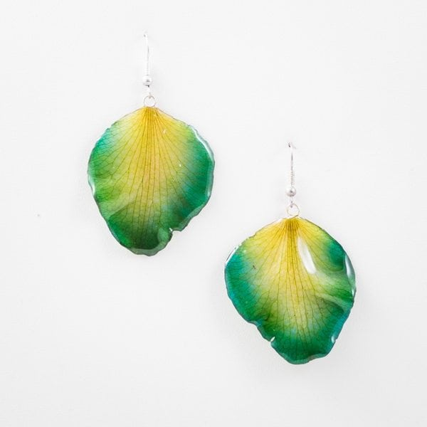 Real flower jewelry wholesale Cattleya petal earrings in green color