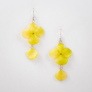 Real orchid flower jewelry wholesale Hydrangea earrings in yellow color