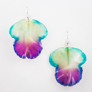 Real orchid flower jewelry wholesale Large Cattleya tongue earrings in blue color