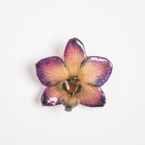 Real orchid flower jewelry wholesale Phalanopsis necklace in plum color