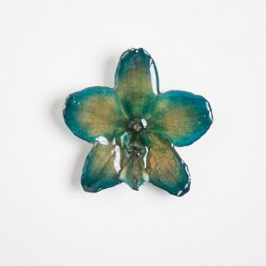 Real orchid flower jewelry wholesale Phalanopsis necklace in blue color