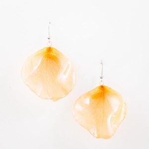 Real orchid flower jewelry wholesale Rose petal earrings in orange color