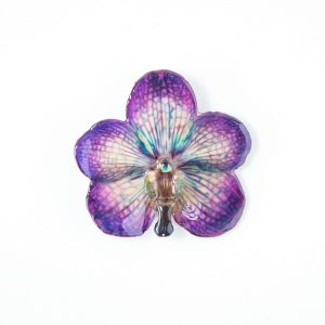 Real orchid flower jewelry wholesale Vanda pendant in violet color