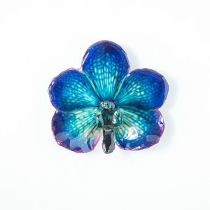 Real orchid flower jewelry wholesale Vanda pendant in blue color