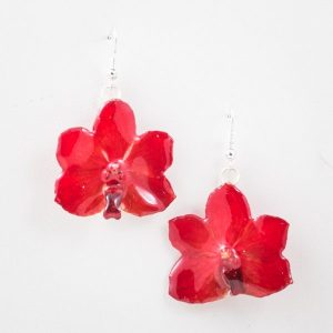 Real orchid flower jewelry Vasco earrings in red color