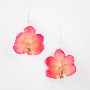 Real orchid flower jewelry Vasco earrings in pink color