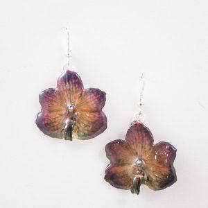 Real orchid flower jewelry Vasco earrings in purple color