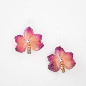 Real orchid flower jewelry Vasco earrings in violet color