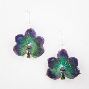 Real orchid flower jewelry plum earrings in pink color