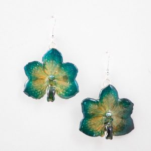 Real orchid flower jewelry Vasco earrings in green color